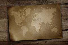 World map on wooden Stock Photo