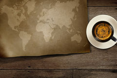 World map on wooden Stock Photos
