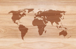 World map on Wooden background Royalty Free Stock Image