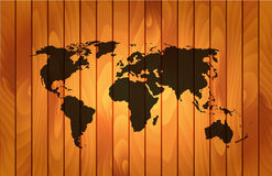 World map on wooden background Royalty Free Stock Photography
