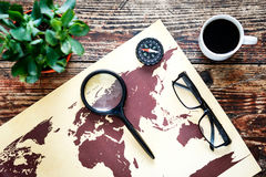 World map on a wooden table Stock Photos