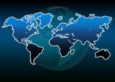 World map world globe. Blue world map world globe stock illustration