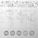 World map with world globes and other elements. Political world map in exercise book with world globes and other elements vector Stock Photography