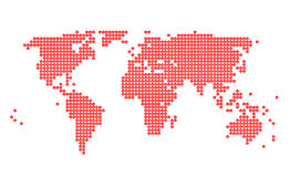 World map with Yen sign. In red dots Royalty Free Illustration