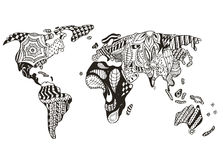 World map zentangle stylized, vector, illustration, freehand pen Royalty Free Stock Photos