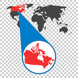 World map with zoom on Canada. Map in loupe. Vector illustration. In flat style Stock Images