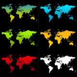 World Maps. 6 different colored maps of the world Royalty Free Stock Photo