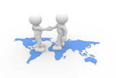 World maps. 3d people - human character - two people talking and world maps. 3d render illustration Stock Image