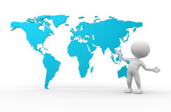World maps. 3d people - men, person and world maps Royalty Free Stock Image