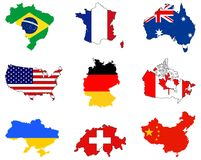 World maps and flags - countries in the World Stock Photography