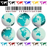 World maps and globes vector Royalty Free Stock Photo