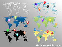 World Maps and Icons Set Stock Image