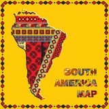 World maps series. South America map with ethnic ornaments Vector Illustration