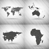 World maps set on gray background, grunge texture Stock Photography