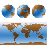 World maps set (vector). World maps set in blue and brown Stock Photos