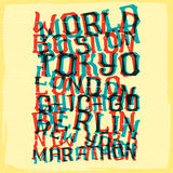 World marathon series retro poster. Royalty Free Stock Photography