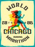 World marathon series retro poster. Royalty Free Stock Photos