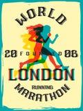 World marathon series retro poster. Stock Photo