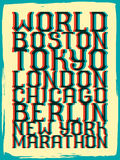 World marathon series retro poster. Royalty Free Stock Photography
