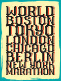World marathon series retro poster. Stock Images