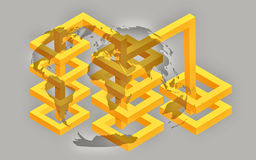 Isometric World Marketing Graphic. Isometric marketing illustration showing worldwide trading Royalty Free Stock Photo