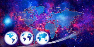 World marketing map or globe. This is an image based on the concept of World Marketing in Conflict and shows a star and fire background over which is an image Royalty Free Stock Image