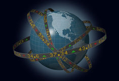 World markets globe with orbiting stock tickers. Stylized world markets with globe and orbiting ribbons displaying sliding stock market tickers Royalty Free Stock Photography