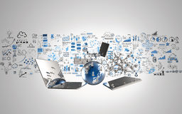 World of media network 3d. And hand drawn business strategy as concept Royalty Free Stock Images