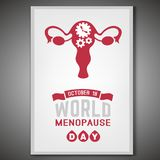 World menopause day. October 18 - World menopause day. Vertical poster in modern style. Editable vector illustration in red and grey colors  on a white Stock Photos