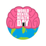 World Mental Health Day. Brain and earth. Stock Photography