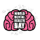 World Mental Health Day emblem. Symbol of human Brain. Grunge st Stock Photography