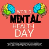 World Mental Health Day. Illustration of a Banner for World Mental Health Day Stock Photos