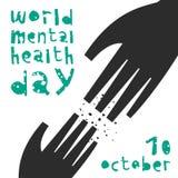 Mental health. Vector illustration. World Mental Health Day. Vector illustration with helping hand stock illustration