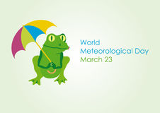 World Meteorological Day. Cartoon frog with umbrella. Vector illustration for World Meteorological Day. Festive card. Vector background with the weather Royalty Free Stock Photo