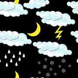 World Meteorological Day. Clouds, moon, rain, snow. World Meteorological Day. Seamless pattern. Seamless pattern. For night time. Clouds, moon, rain, snow Royalty Free Stock Image