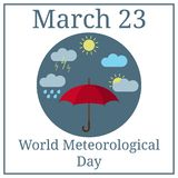 World Meteorological Day. March 23. March Holiday Calendar. Umbrella. Weather icons. Vector illustration for Your Design. stock illustration