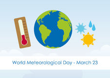 World Meteorological Day. Vector illustration for World Meteorological Day. Festive card. Vector background with the weather Royalty Free Stock Image
