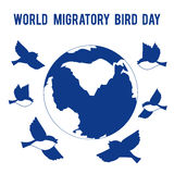 World Migratory Bird Day. Birds fly around the globe. Place for text. Can be used for the design of postcards, promotion, invitations, congratulations, banner Royalty Free Stock Photos