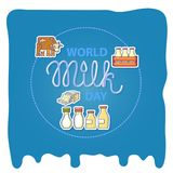 World milk day card with handwritten lettering and icons. World milk day card with handwritten 3d lettering and flat icons bottle of milk, cheese and Stock Photo