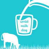 World milk day Cow, Milk pouring from a jar in cup, silhouettes on Blue background. Royalty Free Stock Image