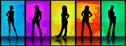 World Models. Vector Image Of Various models in silhouette against the world map as seen through a series of 5 portals each portraying a different color Plus a stock illustration