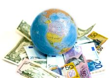 The World of Money. Euro, US Dollars, and AUS Dollars Stock Photos
