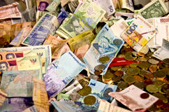 World Money. World different currencies coins and paper money Stock Images