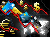 World money crisis concept. Dark illustration royalty free illustration