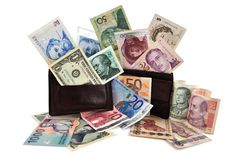 World Money currency. Full world money currency, ready for travel Stock Photos