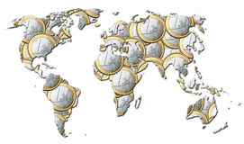 World of money - Euros. Map of the world full of euro coins Stock Photos