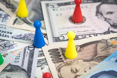 World money game or economic strategy, colorful plastic game fig Stock Image