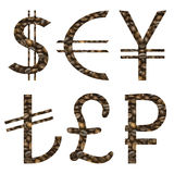 World money signs set made of cut coffee Royalty Free Stock Images
