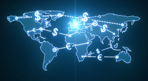 World money traffic. Map world money traffic concept Royalty Free Stock Photo