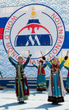 World Mongolians Convention. UULAN-UDE, RUSSIA - JULY 16: The 4th General Session of the World Mongolians Convention. Artists of Buryat state song and dance royalty free stock photo